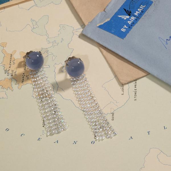 La Preziosa - Blue Ocean - Ohrringe - Weißgold